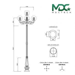 cột đèn mdc 2-01