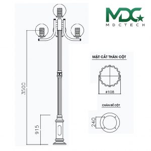 cột đèn mdc 8-01